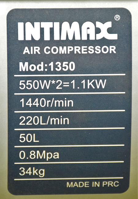 مشخصات کمپرسور باد 50 لیتری اینتیمکس